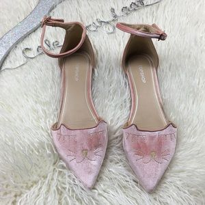 Kitty Cat Flats With Ankle Strap Velour 8.5
